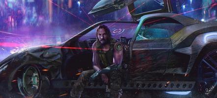 Cyberpunk 2077 Keanu Reeves sitting in a futuristic car
