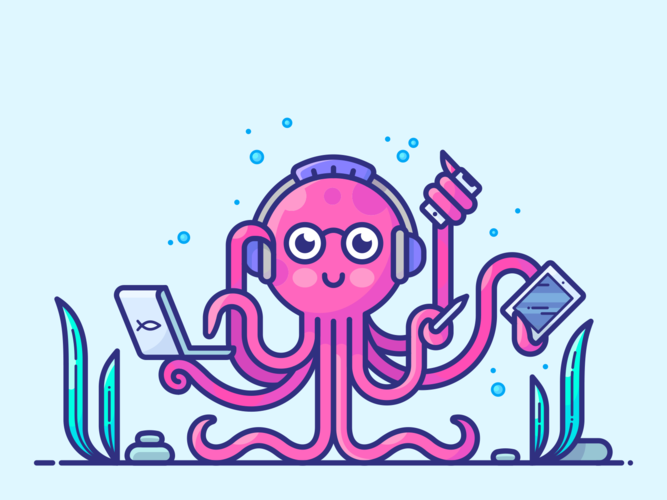 multitasking cute pink octopus