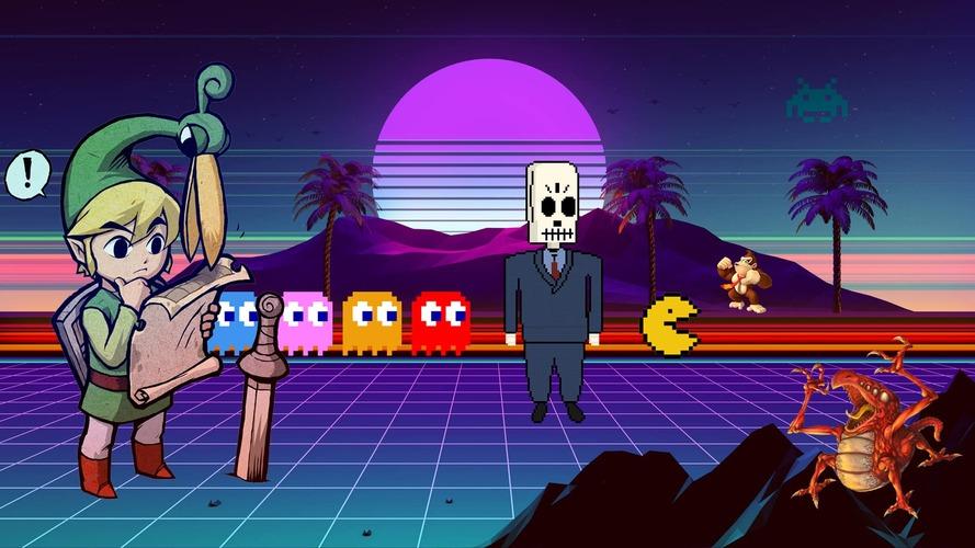 old school video games 80s retrowave background